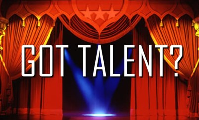 """stage with opening curtains and spotlight; text reads """"Got talent?"""""""